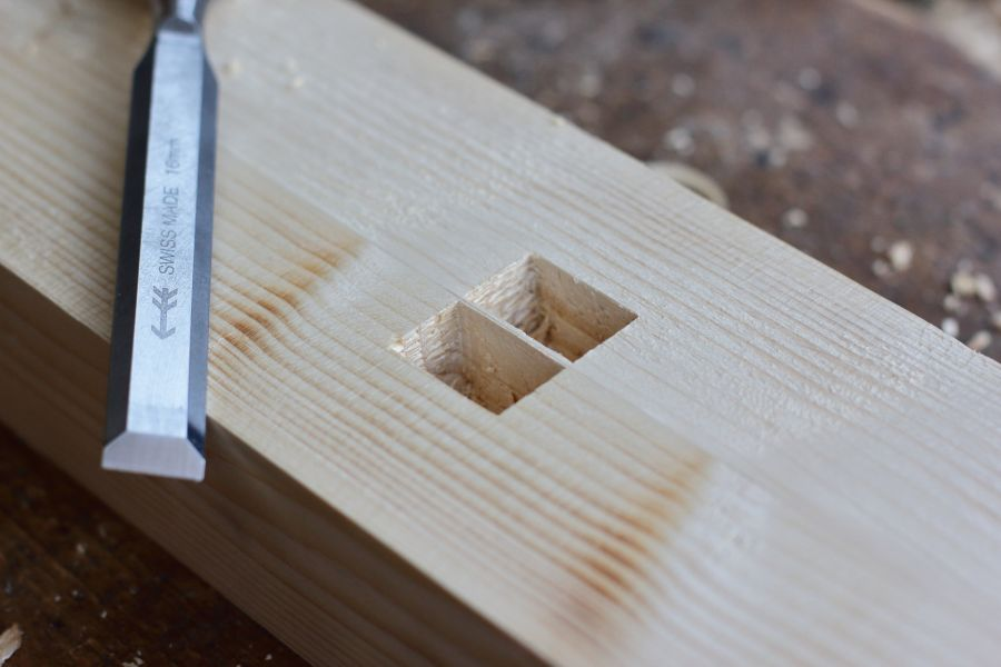 Mortise cut by hand with precision